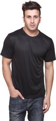 Funky Guys Solid Men's Round Neck Black T-Shirt