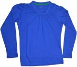 Golfer Solid Women's V-neck Blue T-Shirt