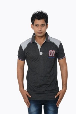Lampara Solid Men's Polo Neck Grey T-Shirt