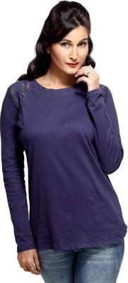 Loco En Cabeza Solid Women's Round Neck Blue T-Shirt
