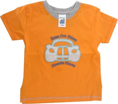 Magic Train Applique Baby Boy,s, Baby Girl's Round Neck Orange T-Shirt