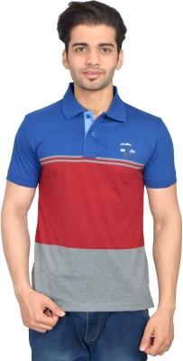 Urban Trail Printed Men's Polo Neck Blue T-Shirt