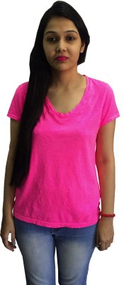 TRENDIEZ Solid Women's Round Neck Pink T-Shirt