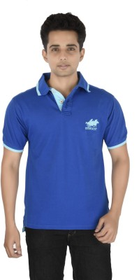 Buzkachi Solid Men's Polo Dark Blue T-Shirt
