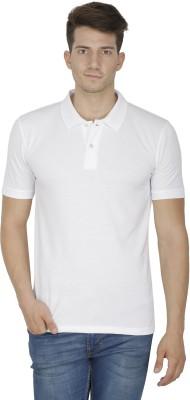 Sass Solid Men's Polo Neck White T-Shirt