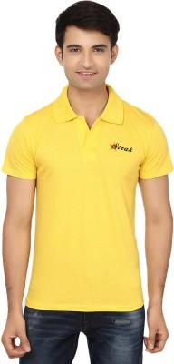 Strak Solid Men's Polo Neck Yellow T-Shirt