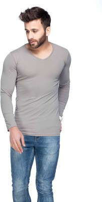 Tinted Solid Men's V-neck Grey T-Shirt