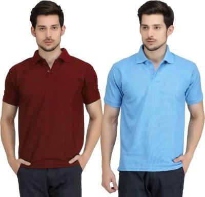 Krazy Katz Solid Men's Polo Neck Maroon, Light Blue T-Shirt