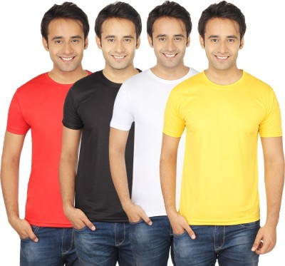 Quetzal Solid Men's Round Neck Yellow, White, Black, Red T-Shirt
