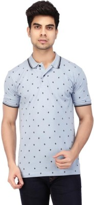 ACROPOLIS by Shoppers Stop Printed Men's Polo Blue T-Shirt