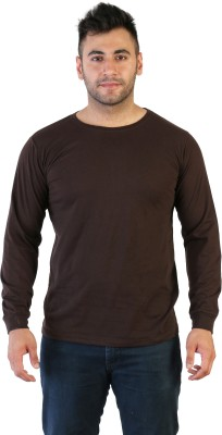 Acomharc Solid Men's Round Neck Brown T-Shirt