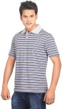 Planet 69 Striped Men's Polo Neck Grey T...