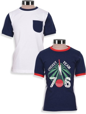 Mothercare Solid Boy's Round Neck White, Blue T-Shirt