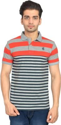Urban Trail Striped Men's Polo Neck Orange T-Shirt