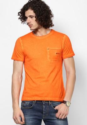 Camino Solid Men's Round Neck Orange T-Shirt