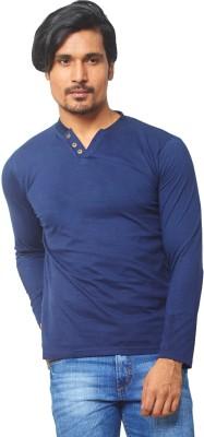 THOR Solid Men's V-neck Blue T-Shirt