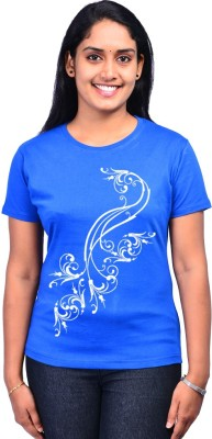 Zorba Mart Floral Print Women's Round Neck Blue T-Shirt