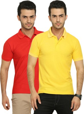 Fundoo-T Solid Men's Polo Red, Yellow T-Shirt