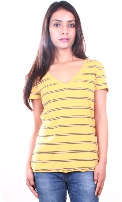 AR2 Striped Women's V-neck Yellow T-Shirt