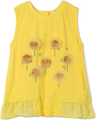 FS Mini Klub Embellished Baby Girl's Round Neck Yellow T-Shirt