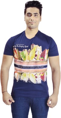 Krazzy Collection Printed Men's V-neck Blue T-Shirt