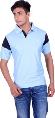 EX10 Solid Men,s Polo Neck Light Blue T-Shirt