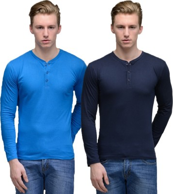 Feed Up Solid Men's Henley Dark Blue, Blue T-Shirt