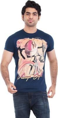 Zulements Printed Men's Round Neck Dark Blue T-Shirt