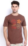 Nuteez Printed Men's Round Neck Brown T-...