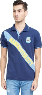 Manchester City FC Printed Men's Mandarin Collar Dark Blue T-Shirt