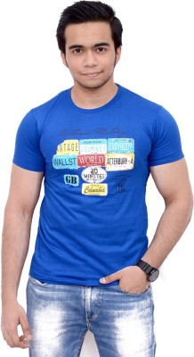 Siddique Collection Graphic Print Men's Round Neck Blue T-Shirt