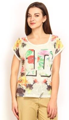 Tokyo Talkies Printed Women's Round Neck Multicolor T-Shirt