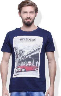 GOINDIASTORE Solid Men's Round Neck Blue T-Shirt