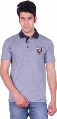 Deutz Solid Men's Polo Neck Dark Blue T-Shirt