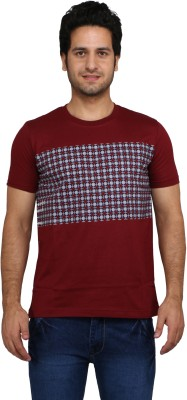 Rags Style Printed Men's Round Neck Red T-Shirt