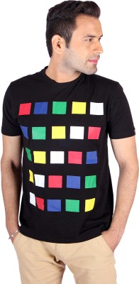 Swag Geometric Print, Checkered Men's Round Neck Multicolor T-Shirt
