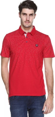 OCTAVE Printed Men's Polo Neck Red T-Shirt