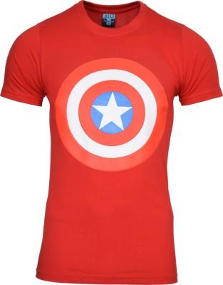 SnowFox Printed Men's Round Neck Red T-Shirt
