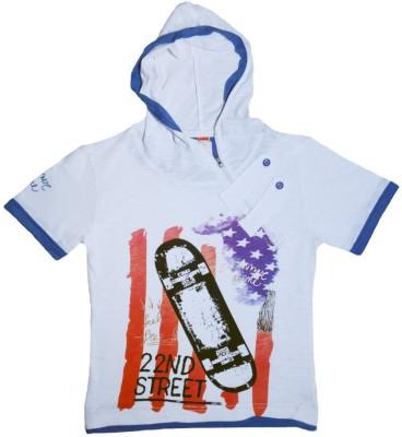 Just Chill Printed Boy's V-neck White T-Shirt