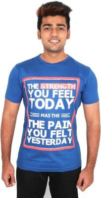 Moxi Printed Men's Round Neck Dark Blue T-Shirt