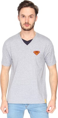 Campus Sutra Solid Men's V-neck Grey T-Shirt