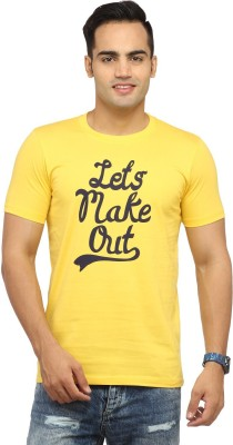 Byrock Printed Men's Round Neck Yellow T-Shirt