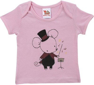 Apple Pie Graphic Print Baby Girl's Round Neck T-Shirt
