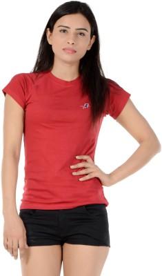 S9 Women Solid Women's Round Neck Maroon T-Shirt