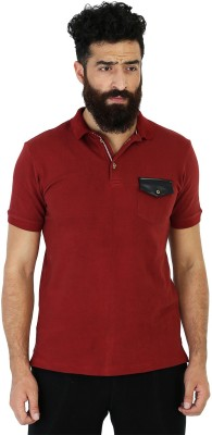 Mr Button Solid Men's Polo Red T-Shirt