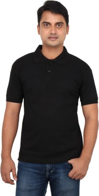 LOOX by Apoorti Solid Men's Polo Neck Black T-Shirt