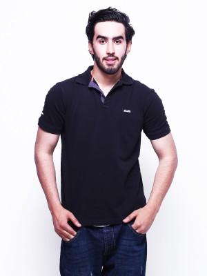 Skatti Solid Men,s Polo Neck Black T-Shirt