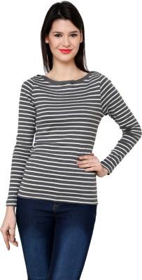 Pankhuri For Women Striped Women,s Round Neck White, Grey T-Shirt