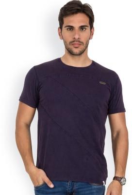 Blue Monkey Self Design Men's Round Neck Dark Blue T-Shirt