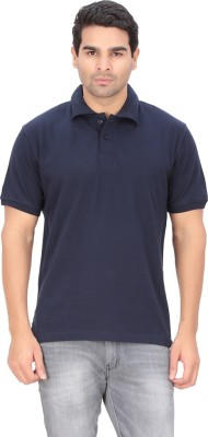 Indian Engineer Solid Men's Polo Neck Dark Blue T-Shirt